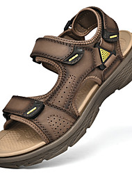 cheap -Men's Sandals Beach Roman Shoes Daily Outdoor PU Breathable Non-slipping Wear Proof Light Brown Dark Brown Black Spring Summer