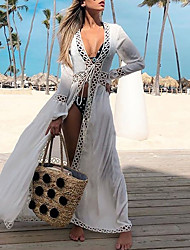 cheap -amazon cross-border european and american women's sexy cardigan beach sunscreen shirt round hole lace holiday skirt bikini blouse
