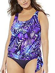 cheap -swimsuits for all women's plus size palm print blouson tankini top 24 purple