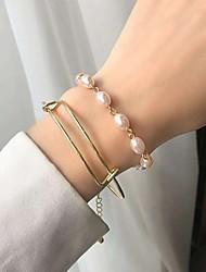 cheap -2pcs Women's Pearl Bracelet Retro Vintage Theme Stylish Baroque European Sweet Alloy Bracelet Jewelry Gold For Wedding Party Evening Date Birthday Festival