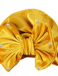 cheap -new european and american children's gold velvet pearl indian hat bowknot baby hat baby pullover hat wholesale foreign trade