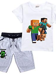 cheap -Kid's Child's Kids Child T shirt Clothing Set Short Sleeve Cartoon Image Children Tops Cotton Light Blue White Black