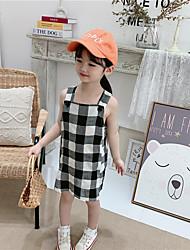 cheap -ins spring and summer 2021 new girl dress korean black and white plaid skirt baby suspender skirt