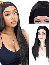 cheap -cloud head scarf wig european and american ladies black long straight hair hood ice silk hair band chemical fiber hair cover factory wholesale