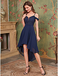 cheap -A-Line Straps Asymmetrical Chiffon Bridesmaid Dress with Ruffles