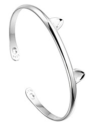 cheap -925 sterling silver lovely animal cat ear paw cuff bangles & bracelets accessories for girls women gift birthday jewelry