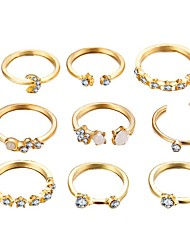 cheap -star crescent ring 9 piece set creative retro simple alloy joint ring