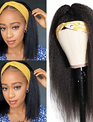 cheap -Headband Wig Kinky Straight Human Hair Wigs for Black Women Italian Yaki Headband Wigs Glueless None Lace Front Natural Black 100% Unprocessed Brazilian Virgin Hair 150% Density
