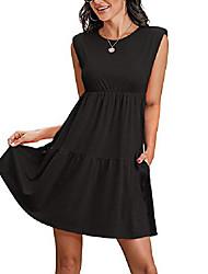 cheap -jayscreate women's summer babydoll dress casual black sleeveless padded shoulder pleated beach flowy dress for women