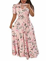 cheap -Women's Swing Dress Maxi long Dress Leopard Yellow flower Color stripes Green flower Black diamond Grey Flower Pink flower Big white flower Light pink flower Short Sleeve Pattern Spring Summer Casual