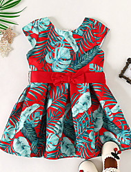 cheap -Kids Little Girls' Dress Tropical Leaf Trees / Leaves Birthday Party Print Red Midi Short Sleeve Regular Basic Sweet Dresses Children's Day Summer Slim 1-5 Years