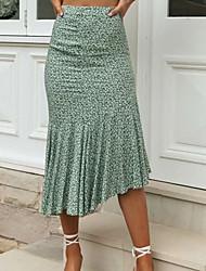 cheap -Women's Vacation Festival Elegant Streetwear Skirts Floral Graphic Ruffle Print Green
