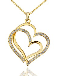 cheap -Women's Cubic Zirconia Pendant Necklace Classic Heart Fashion Gold Plated Rose Gold Plated Rose Gold Gold 45+5 cm Necklace Jewelry 1pc For Anniversary Gift Birthday Party Festival