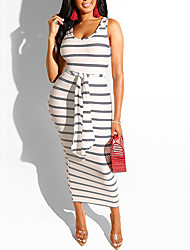 cheap -Women's Plus Size Stripes Drawstring Basic Sleeveless Summer Maxi long Dress Strap Dress