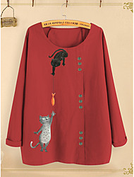 cheap -Women's Plus Size Tops Blouse Shirt Cat Graphic Long Sleeve Round Neck Spring Summer Navy Yellow Blushing Pink Big Size M L XL 2XL 3XL