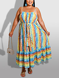 cheap -Women's Plus Size Stripes Graphic Drawstring Summer Swing Dress