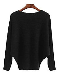 cheap -haellun women's sweaters batwing sleeve casual cashmere jumpers winter pullovers (one size, black)