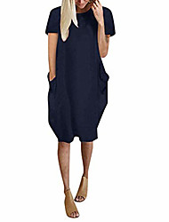 cheap -women tunic dress loose short sleeve solid color oversize baggy summer shirt mini dresses with pockets navy