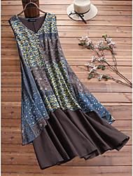 cheap -Women's Plus Size Dress Swing Dress Maxi long Dress Graphic Fake two piece Spring Summer Light Blue Blue Red L XL 2XL 3XL 4XL