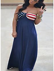 cheap -Women's Strap Dress Maxi long Dress Sleeveless Pattern Spring Summer Casual / Daily 2021 XS S M L XL