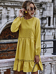 cheap -2020 european and american autumn and winter new hollow lace stitching lotus leaf round neck long-sleeved large swing dress amazon spot