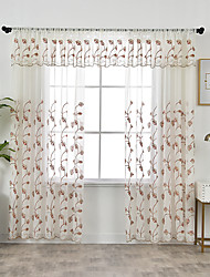 cheap -Two Panel Korean Pastoral Style Leaf Embroidered Window Screen Living Room Bedroom Dining Room Children's Room Translucent Tulle