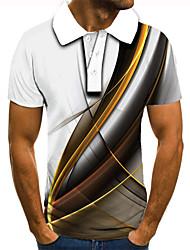 cheap -Men's Unisex Golf Shirt Tennis Shirt 3D Print Graphic Prints Linear Button-Down Short Sleeve Street Tops Basic Casual Fashion Designer White / Sports