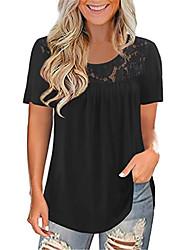 cheap -Women's T shirt Plain Lace Round Neck Tops Basic Basic Top Black Blue Purple