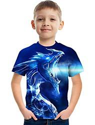 cheap -Kids Boys' T shirt Tee Short Sleeve Dinosaur Dragon Fantastic Beasts 3D Print Graphic Animal Rainbow Children Tops Summer Active Cool 3-12 Years
