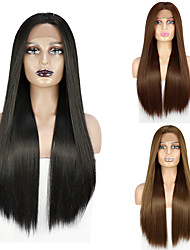 cheap -Straight Lace Front Wigs Long Straight Synthetic Wig for Women Japanese Heat Resistant FIBER 26 Inch Free Part Lace Wig Free Cap