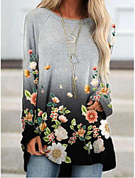 cheap -2020 european and american cross-border wish amazon autumn and winter gradient flower print long-sleeved retro women's top