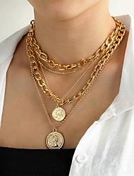 cheap -round coin necklace retro multi-layer pendant necklace twist chain sweater chain