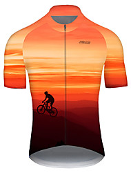 cheap -21Grams Men's Short Sleeve Cycling Jersey Nylon Red / Yellow Gradient 3D Bike Jersey Top Mountain Bike MTB Road Bike Cycling Quick Dry Breathable Sports Clothing Apparel / Micro-elastic