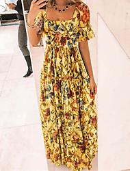 cheap -Women's Swing Dress Maxi long Dress Short Sleeve Print Spring Summer Square Neck Holiday Casual / Daily 2021 S M L XL XXL XXXL
