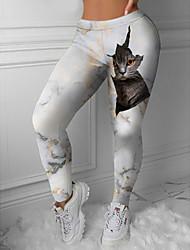 cheap -Women's Sporty Fashion Comfort Leisure Sports Weekend Leggings Pants 3D Print Cat Ankle-Length Sporty Elastic Waist Print White