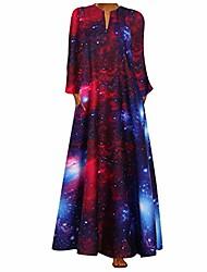 cheap -whear women long sleeve plus size dresses summer casual high waist v neck floral print boho long sleeve maxi dress(#red,xx-large)