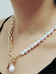 cheap -fashion special-shaped imitation pearl necklace retro baroque geometric portrait tag clavicle chain female