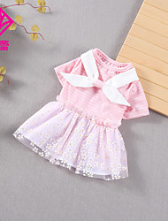 cheap -Dog Cat Dress Lace Bowknot Basic Adorable Cute Casual / Daily Dog Clothes Puppy Clothes Dog Outfits Breathable Yellow Pink Costume for Girl and Boy Dog Cotton Fabric S M L XL XXL