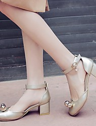 cheap -Women's Wedding Shoes Chunky Heel Round Toe PU Synthetics Gold Silver