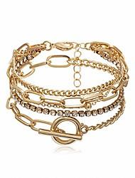 cheap -layered chunky chain bracelets statement bohemian adjustable toggle crystal charm wrist chain bangles for women girls egirl (gold)