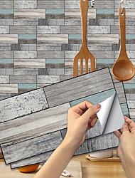 cheap -15*30CM 6PCS Imitation Wood Grain Ceramic Tile Kitchen Bathroom Self-adhesive Paper Waterproof And Oil-proof Ultramarine Wood Grain Sheet Self-adhesive Decorative Wall