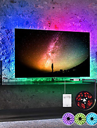 cheap -LED Strip Lights Waterproof 1M RGB Tiktok Lights Battery Powered 30 LEDs Per Meter 5050 With 3 Key Mini Controller TV Computer Backlight