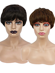 cheap -Synthetic Wig Short Straight Brown Black Bob Wigs with Bangs for Woman Daily High Temperature Fiber Free Cap