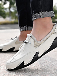 cheap -Men's Loafers & Slip-Ons Crochet Leather Shoes Comfort Loafers Sporty Casual Daily Outdoor Walking Shoes Trail Running Shoes Nappa Leather Cowhide Breathable Handmade Non-slipping Booties / Ankle