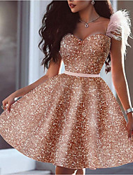 cheap -A-Line Glittering Sexy Homecoming Cocktail Party Dress Sweetheart Neckline Sleeveless Short / Mini Sequined with Feather Sequin 2021