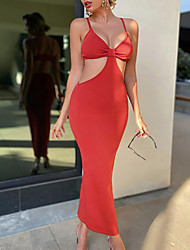 cheap -Sheath / Column Sexy bodycon Holiday Wedding Guest Dress V Neck Spaghetti Strap Sleeveless Ankle Length Spandex with Sleek 2021