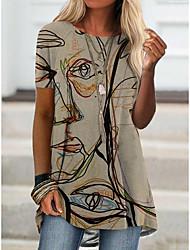 cheap -Women's T shirt Portrait Graffiti Print Round Neck Tops Basic Basic Top Blue Purple Khaki