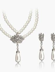 cheap -Women's Jewelry Set Bridal Jewelry Sets 3D Precious Pear Fashion Imitation Pearl Rhinestone Silver Plated Earrings Jewelry White For Christmas Wedding Halloween Party Evening Gift 1 set