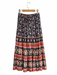 cheap -Women's Holiday Casual / Daily Vintage Boho Skirts Floral Graphic Patchwork Print Navy Blue