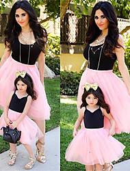 cheap -Mommy and Me Black Summer Mesh Color Block Sleeveless Midi Dresses